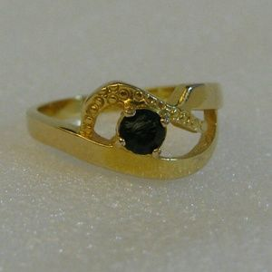 Jewelry - New 18K Gold Filled Ring Blue CZ Stones 7.5